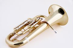 Gold Euphonium Isolated on White Bk Royalty Free Stock Image