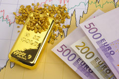 Gold and euro Stock Images