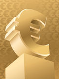 Gold Euro. Gold monument symbol of euro, vector Stock Image