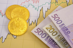 Gold and euro on chart Stock Photos