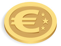 Gold euro coin. Isolated on white, illustration royalty free illustration