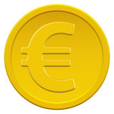 Gold euro coin. Gold coin icon with the euro symbol Stock Photo