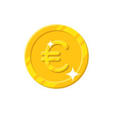 Gold euro coin cartoon style isolated. Shiny gold euro sign for designers and illustrators. Gold piece in the form of a vector illustration Royalty Free Stock Photography
