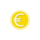 Gold euro coin flat icon, finance and business Stock Photography