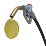Gold euro coin flowing from fuel nozzle Royalty Free Stock Images