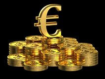 Gold Euro coins Royalty Free Stock Photos