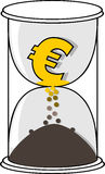 Gold  Euro currency symbol in the white hourglass Royalty Free Stock Image