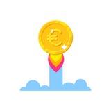 Gold euro increase cartoon style isolated Royalty Free Stock Photo