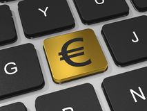 Gold EURO key on keyboard of laptop computer. Stock Photography