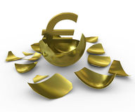 Gold euro sign hatched from eggs of gold. 3d rendering Stock Images