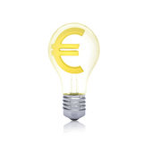 Gold euro sign inside the bulb Royalty Free Stock Photos