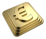 Gold euro sign on a pedestal 3d rendering Royalty Free Stock Photo