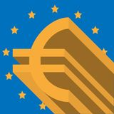 Gold euro symbol on background with flag of European Union royalty free stock photo