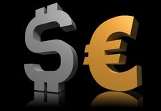Gold euro symbol with dollar Royalty Free Stock Image