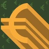 Gold euro symbol on thematic background stock image
