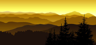 Gold evening at mountains. Stock Photo