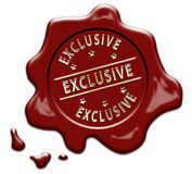 Gold EXCLUSIVE wax seal stamp Stock Photos