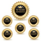 Gold Experience Badges. Set of gold experience badges Stock Photo