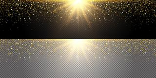 Gold explosion flying glitter in different directions, gold dust. Glitter Christmas cap design. Greeting card. With gold shiny finish. Vector illustration Stock Photography