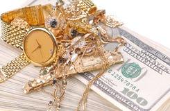 Gold für Bargeld Stockbild