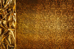 Gold Fabric Background, Cloth Golden Sparkles Texture Border Stock Photo