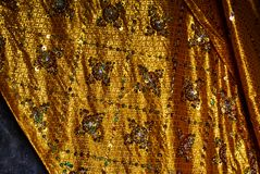 Gold fabric in Historic building in Angkor wat Thom Cambodia stock image