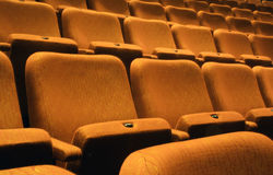 Gold Fabric Theater Seats Royalty Free Stock Photos