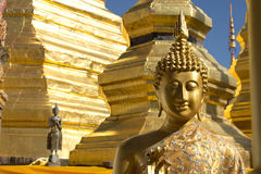 Gold face of Buddha statue. Buddha statue at Wat Muang in Thailand Royalty Free Stock Photos