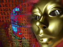 Gold face contemplating numbers Stock Photo
