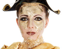 Gold face make-up Royalty Free Stock Photo