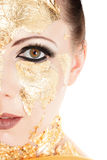 Gold face make-up Royalty Free Stock Photography