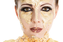 Gold face make-up Royalty Free Stock Image