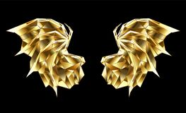 Gold polygonal dragon wings on black background. Gold, faceted, polygonal dragon wings on black background. Abstract wings Royalty Free Stock Photo