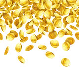 Gold falling 3D coins on white background Royalty Free Stock Images