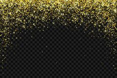 Gold falling particles arch shape on dark backround. Vector. Gold falling particles on black background. Vector illustration Stock Image