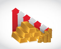 Gold falling profits illustration design Stock Image