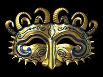 Gold Fantasy Masque. 3d render - object - ornate golden fantasy mask Royalty Free Stock Images