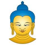 Gold farbiger Buddha-Kopf mit den blauen Haaren Stockbild