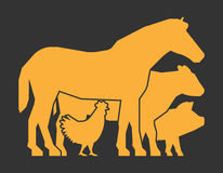 Gold farm animals on a black background. Stock Images