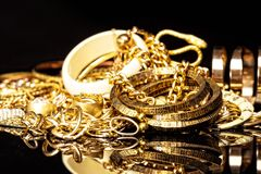 Gold fashion jewelry. Stock Image