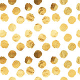 Gold Faux Foil Metallic Dots White Background Pattern Stock Image