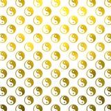 Gold Faux Foil Metallic Yin Yang Tao Balance Chinese. Gold White Faux Foil Metallic Yin Yang Taoism Balance Chinese Tao Symbol Background Texture Pattern Royalty Free Stock Photography
