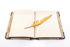 Gold feather and book isolated on white Stock Photos
