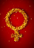 Gold female gender symbol Stock Photos
