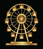 Gold ferris wheel logo template on a black background. Vector illustration Royalty Free Stock Images