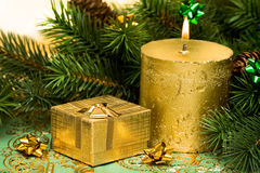 Gold festive candle Royalty Free Stock Image