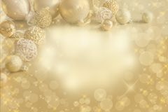Gold Festive Christmas background. Christmas ball golden decoration. stock photo