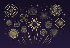Free Gold Festive Fireworks. Christmas Pyrotechnics Firecracker Vecto Royalty Free Stock Photos - 133246198