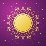 Festive template, snowflake, frame for New Year and Christmas. Gold festive frame, mandala, snowflake on a lilac background with stars. Template for New Year`s Royalty Free Stock Photos