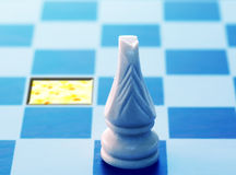 Gold field next step. Conceptual chess stock image